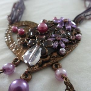 Used Purple and Pink Heart Necklace with Flowers